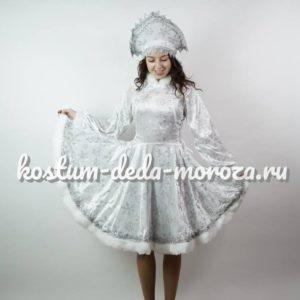 Костюм Снегурочки Белый с кокошником